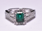 1.75 ct. Emerald & White Topaz Estate Ring