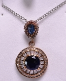 Round Cut Sapphire Evening Necklace