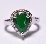 Pear Cut Emerald & Diamond Dinner Ring
