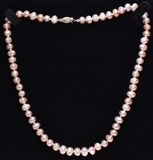 Single Strand Rose Pearl Necklace, 14 Kt.