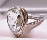 Pear Cut Green Amethyst Evening Ring