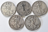 5 Walking Liberty Half Dollars