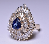 3.88 ct. Pear Cut Sapphire & Diamond Estate Ring