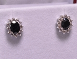 Onyx & White Topaz Earrings