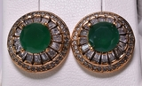 Round Cut Emerald Estate Earrings