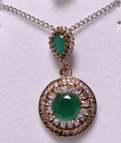 Round Cut Emerald Estate Necklace