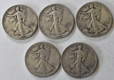 5 Silver Walking Liberty Half Dollars