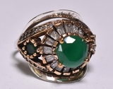 Round Cut Emerald Estate Ring