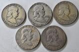 5 Silver Franklin Half Dollars