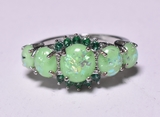 Green Opal & Emerald Dinner Ring