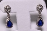Blue & White Sapphire Earrings