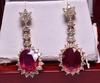 7.46 ct. Genuine Ruby & Diamond Estate Earrings