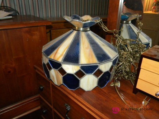 Hanging Leaded Glass Lamp 15 x 11