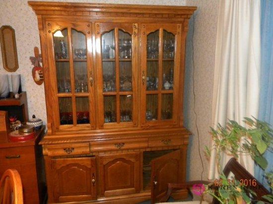 "Large 2 Piece Oak Cupboard 58"" Wx78""Tall"