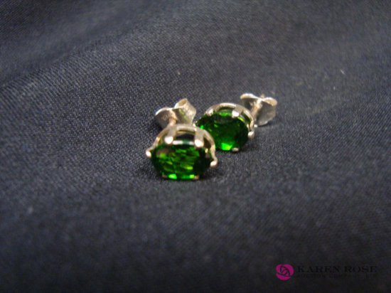 Sterling Russian Chrome Diopside Earrings 1.66ct