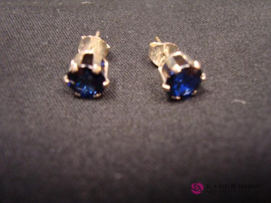Sapphire Earrings 2.0ct 6mm Round