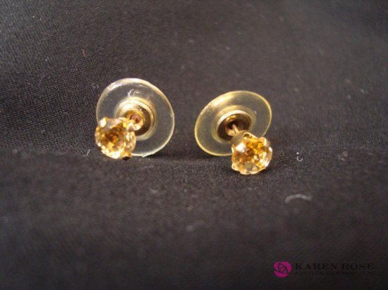 Citrine 1.09ct 14kt Yellow Gold Stud Earrings