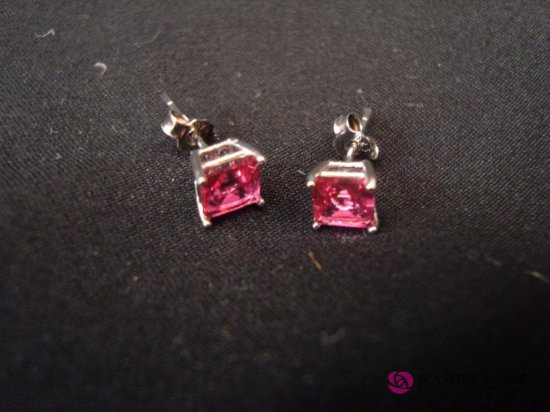 Pink Colored Stone  Sterling Silver Earrings
