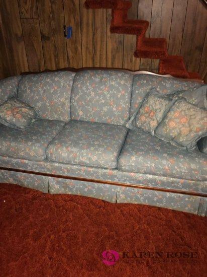Blue flowered sofa