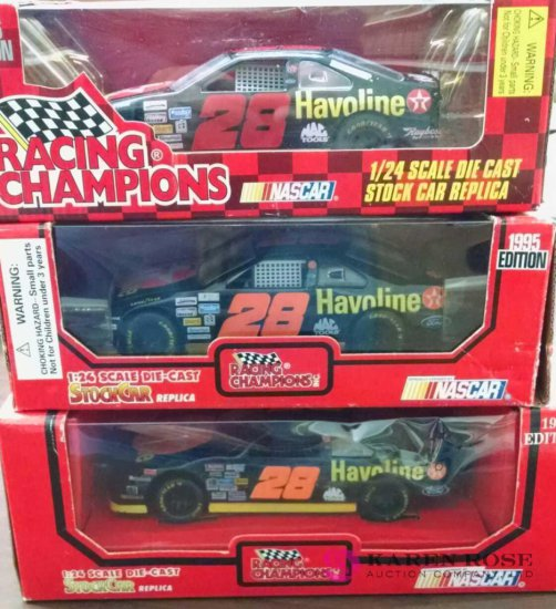 Three 1/24th scale diecast Havoline NASCARs