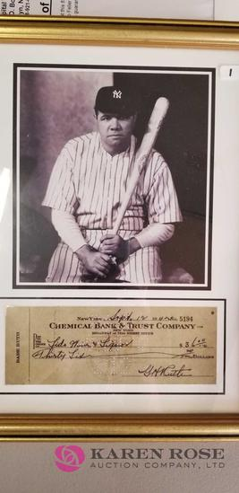 Framed Picture of Babe Ruth with Check