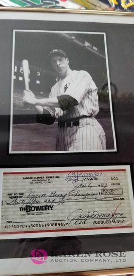 Joe DiMaggio Picture and Check