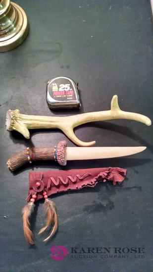 Decorative composite knife with composite antler stand