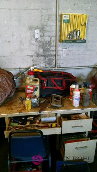 hose clamp wall mount & Desk and all contents