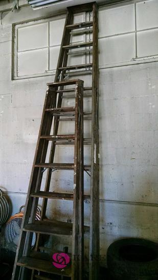 2 wood step ladders