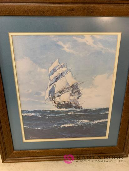 Signed Ship with sails print