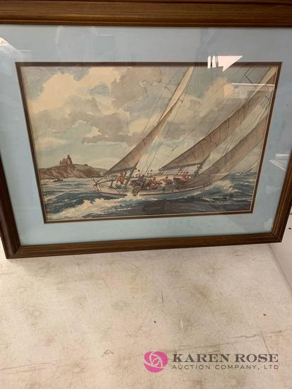 Large sailboat picture framed not signed