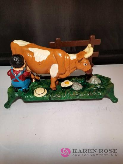 Milking Cow Cast Iron Mechanical Bank