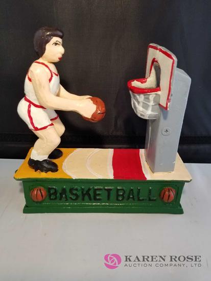 Basketball Cast Iron Mechanical Bank