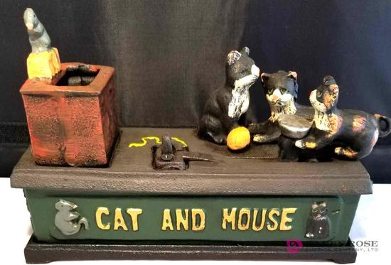 Cat And Mouse Cast Iron Mechanical Bank