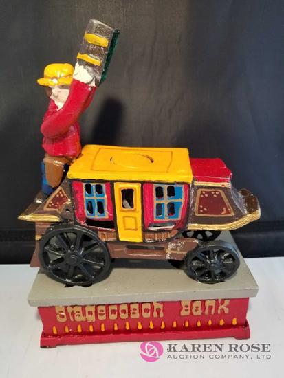 Stagecoach Cast Iron Mechanical Bank