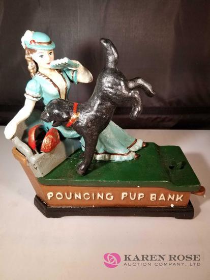Pouncing Pup Cast Iron Mechanical Bank