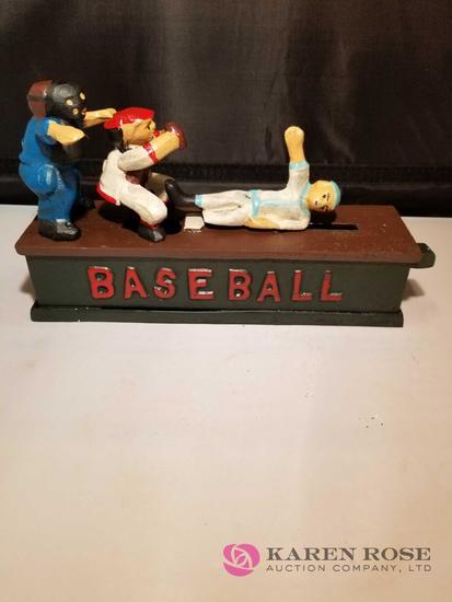 Baseball Cast Iron Mechanical Bank