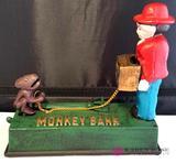 Monkey Cast Iron Mechanical Bank