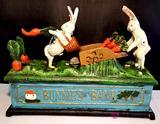 Bunnies Cast Iron Mechanical Bank