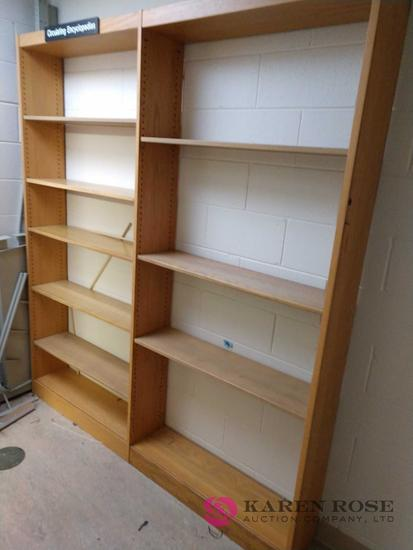 82 by 73 by 9 inch wood shelf unit