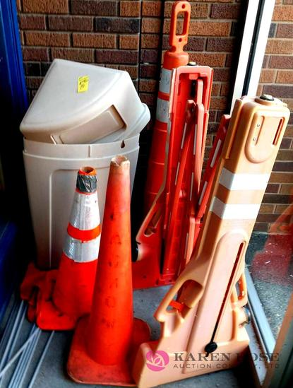 Portable gate, cones, trash can, and flags