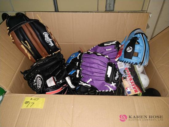 16 new baseball mitts and equipment