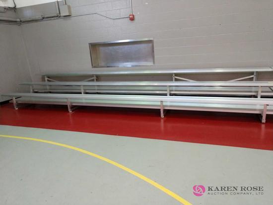 Three tier 15 foot aluminum portable bleachers on wheels