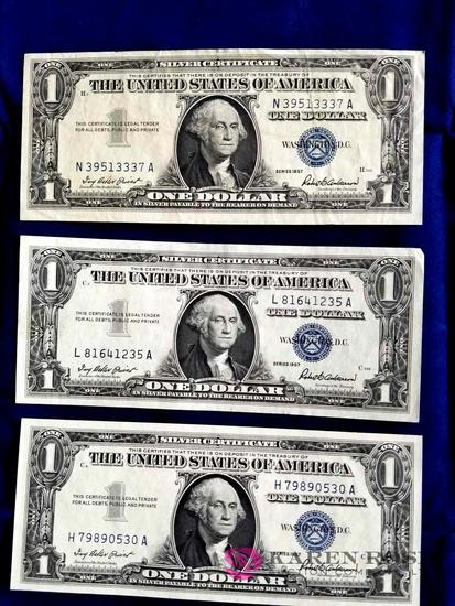 Three One Dollar Silver Certificates