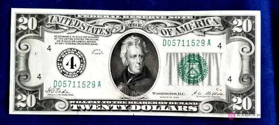 1928 Green Seal Twenty Dollar Bill