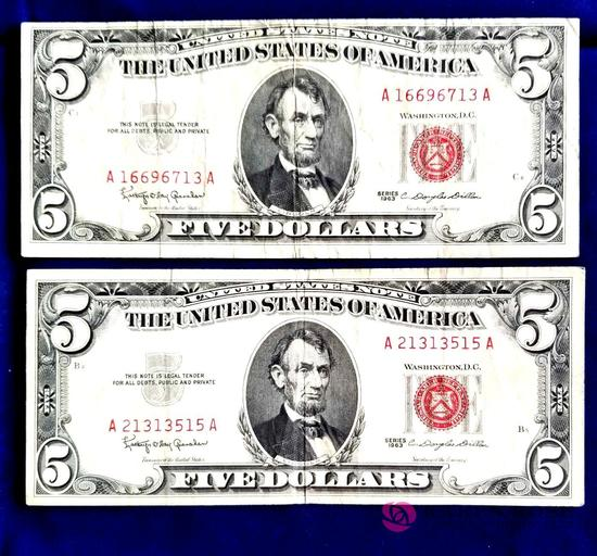 Two 1963 Red Seal Five Dollar Bills