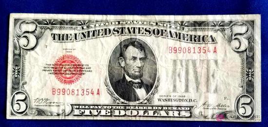 1928 Red Seal Five Dollar Bill