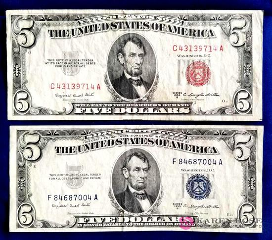 1953B Red And Blue Seal Five Dollar Bills
