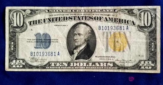 1934A Ten Dollar North Africa Silver Certificate