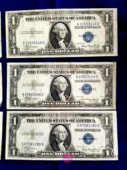 Six One Dollar Silver Certificates